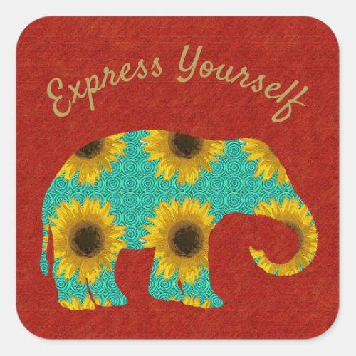 Sunflower Elephant Express Yourself Square Sticker