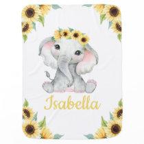 Sunflower Elephant Girl Baby Blanket Custom Name