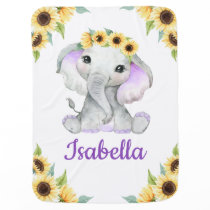 Sunflower Elephant Purple Baby Blanket Custom Name