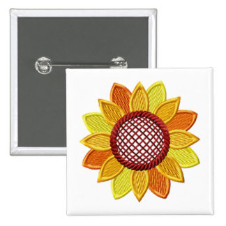Sunflower Embroidery-Style Button