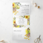 SUNFLOWER EUCALYPTUS WATERCOLOR FLORAL WEDDING Tri-Fold INVITATION