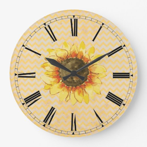 Sunflower Chevron Wall Clock