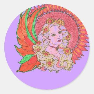 sunflower fairy at twilight classic round sticker