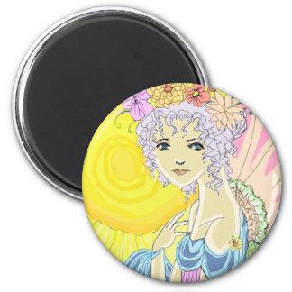 Sunflower Fairy 2 Inch Round Magnet