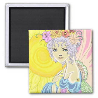 Sunflower Fairy 2 Inch Square Magnet