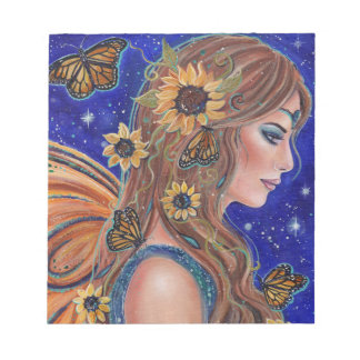 Sunflower fairy with butterflies notepad by Renee