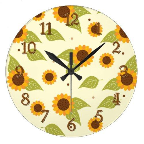 ... Sunflower Fall Autumn Pattern Clocks ...