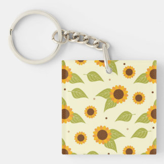Sunflower Fall Autumn Pattern Square Acrylic Keychain