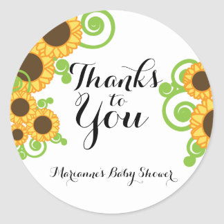 sunflower fall BABY SHOWER thank you label