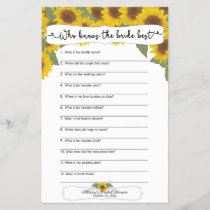 Sunflower Fall Bridal Shower Games,  3632