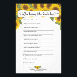 """Sunflower Fall Bridal Shower Games,  3632 Flyer<br><div class=""""desc"""">This two-sided game sheet can be personalized by adding the bride&#39;s name and shower date.  Please check out this entire collection to see other matching pieces!</div>"""