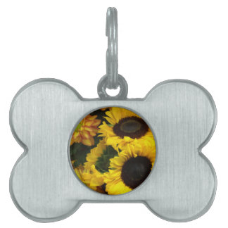 Sunflower Fall Flowers Pet Name Tag