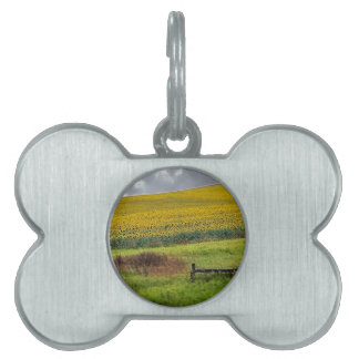 Sunflower Farm, wooden fence & phone pole Pet Name Tag