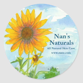 Sunflower Field All Natural Watercolor Landscape Classic Round Sticker