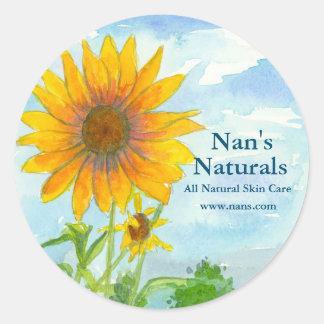 Sunflower Field All Natural Watercolor Landscape Classic Round Sticker