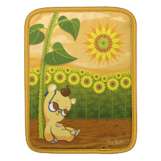 Sunflower Field and Cute Cartoon Bear iPad Sleeve