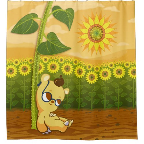 Sunflower Field and Cute Cartoon Bear Shower Curtain