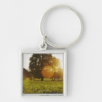 Sunflower Field At Sunset With A Barn Keychain