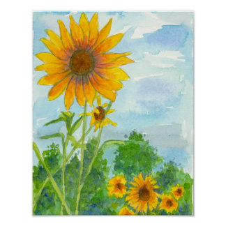 Sunflower Field Blue Sky Watercolor Painting Poster