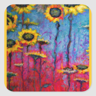 Sunflower Field by Sharles Square Stickers