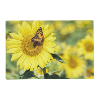 Sunflower Field with Butterfly Laminated Placemats