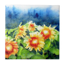Sunflower Fields 3 Ceramic Tile