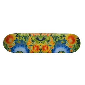Sunflower fields forever -blue skateboard deck