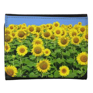 Sunflower Fields Leather Tri-fold Wallet