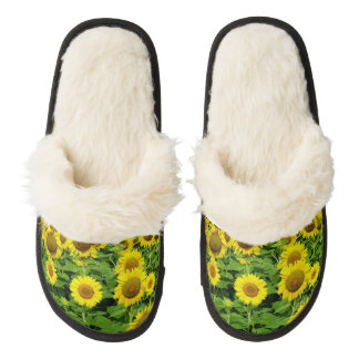 Sunflower Fields Pair Of Fuzzy Slippers