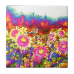 """Sunflower Fields Tile<br><div class=""""desc"""">romantic surreal abstract psychedelic watercolor sunflower fields -</div>"""