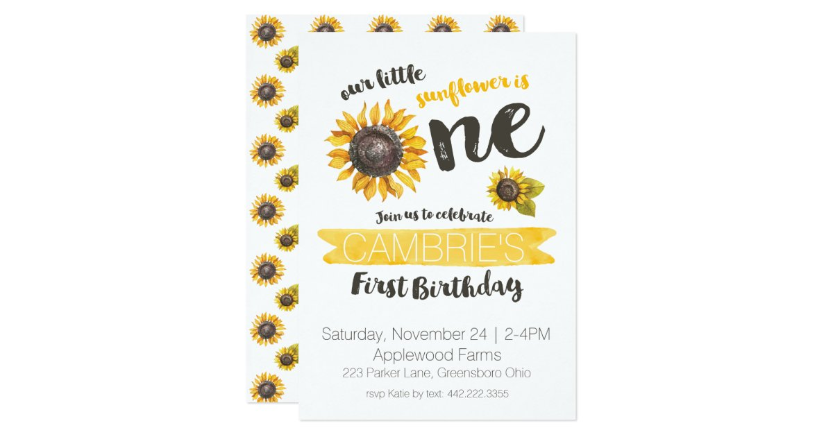 Sunflower First Birthday Invitation | Zazzle.com