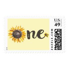 Sunflower First Birthday Stamp