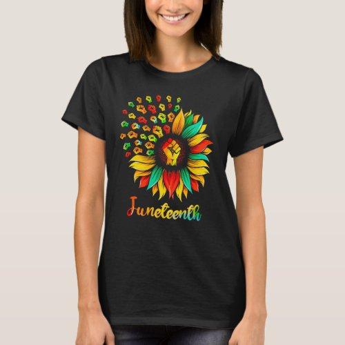 Sunflower Fist Juneteenth African American Pride T_Shirt