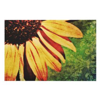 Sunflower, Fleur De Lis Brocade Wood Art