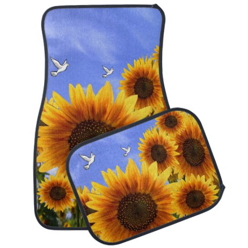 Sunflower floor car mats