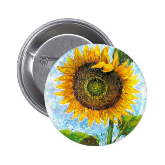 Sunflower Flora Painting - Multi Button