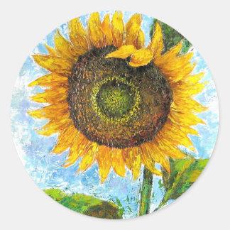 Sunflower Flora Painting - Multi Classic Round Sticker