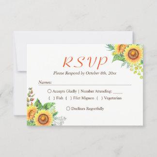 Sunflower Floral Baby's Breath Rustic Wedding RSVP