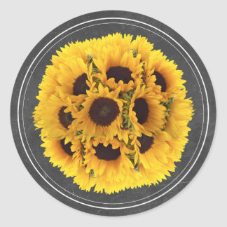 Sunflower Floral Bouquet Chalkboard Rustic Wedding Classic Round Sticker