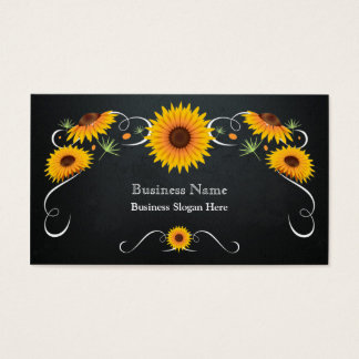 Sunflower Floral Chalkboard Vintage Business Card