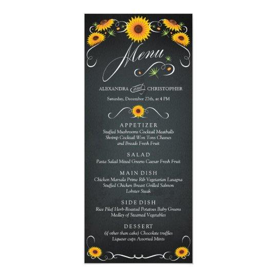 Sunflower Floral Chalkboard Vintage Wedding Menu Card