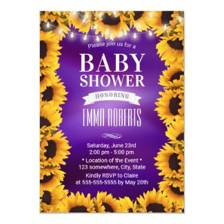 Purple Yellow Sunflower Baby Shower Invites