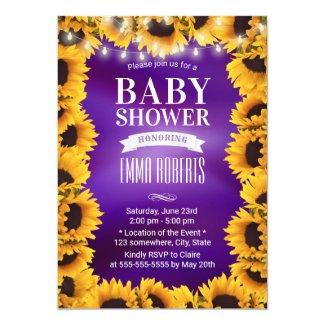 Purple Yellow Sunflower Baby Shower Invites