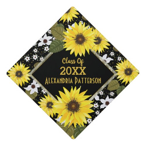 Sunflower Floral Garden  Custom Graduation Graduation Cap Topper