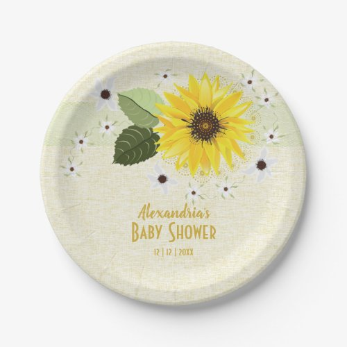 Sunflower Floral Linen Baby Shower Paper Plate
