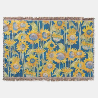 Sunflower Floral Pattern Blue Throw Blanket