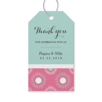 Sunflower Floral Pattern Gift Tag Pink and Blue
