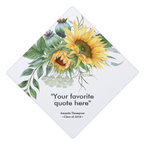 Sunflower Floral personalized Graduation Graduation Cap Topper
