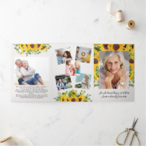 Sunflower Floral Photo Eulogy Funeral Announcement