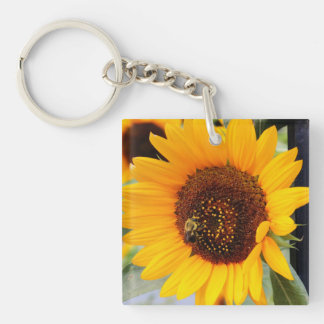Sunflower Floral Photo Square Acrylic Keychain